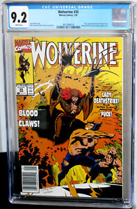 Wolverine #35 Newsstand Lady Deathstrike CGC NM- 9.2 White Pages 3813998018
