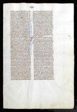 ILLUMINATED MANUSCRIPT MEDIEVAL BIBLE LEAF - c. 1250, ITALY - INITIALS, ex EGE