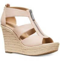 NIB Size 11 MICHAEL KORS Damita Wedge Sandal Soft Pink Canvas