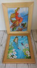 Pair Of Enchanted Fairy Fairytale Fantasy Mystical Watercolour Framed Paintings