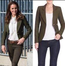 Smythe Duchess One Button Blazer Olive Army Green Linen Kate UK4/US0