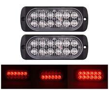 2Pcs 12LED Flash Strobe Emergency RED Warning Fog Light Bar For Car Truck 36W