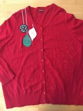 Women's Merona Sz 3 Red Christmas Holiday Cardigan Sweater