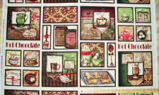 "Hot Chocolate Cocoa Marshmallow Christmas Fabric Panel  23"" Repeat   #33720"