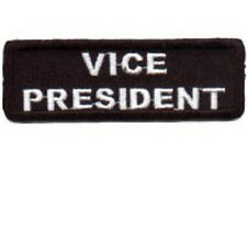 VICE PRESIDENT BLACK 1 X 3 CLUB EMBROIDERED BIKER PATCH