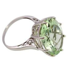 18.0ct Green Amethyst 9ct 9K Solid White Gold Ring - Sz N/7.0 - 30 Day Returns