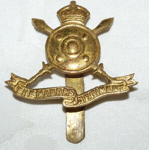 VINTAGE THE MADRAS REGIMENT - MILITARY CAP BADGE - INDIAN ARMY - INDIA