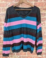 Marc OPolo Sweater L Wool Blend Striped Jumper Knit Pullover Striped V-Neck