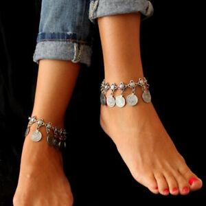 2PCS European Style Silver Anklet Boho Ladies Beach Barefoot Foot Bracelets Gift