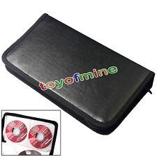 Black Leather VCD CD DVD 80 Discs Storage Holder Case Wallet Bag Carry Organizer