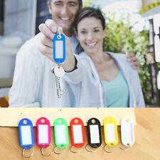 10 pieces Plastic Keychain Key Split Ring ID Tags Name Card Label Language Fob