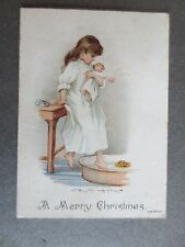 Antique CHRISTMAS Card Little Girl with Doll Getting in Bath Victorian Chromo