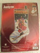 "Nip Janlynn Needlepoint Christmas Stocking Kit,Skiing Santa,18"""