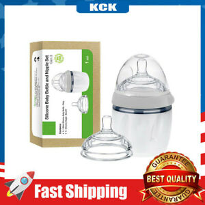 Silicone Baby Bottle 5 oz with M Nipple Set for Infant Newborn, Grey (5oz + M)