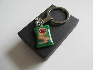 Handmade Fun Gift - Miniature Salt & Vinegar Crisp Crisps Packet Charm Keyring