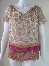 Lucky Brand *NEW* Multi-color See Thru Cap Sleeve Blouse Top Woman Size XS