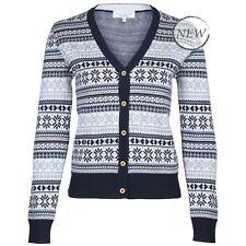 Women's Acrylic Medium Knit Button Waist Length Jumpers & Cardigans