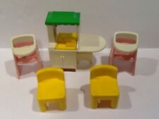 Vintage Little Tikes Dollhouse People Kitchen Island, Chairs and High Chairs