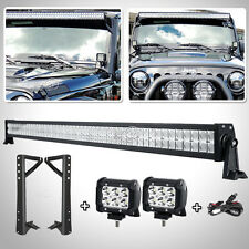"52"" 700W+2×18W LED Light Bar+Mounting Bracket Fit For Jeep Wrangler JK 2007-2017"