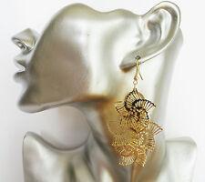 Gorgeous Fan Design Dangle Drop Earrings in GOLD Colour Lightweight 8 cms LONG