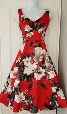 Womens Debut Red Satin Floral 50s Pin Up Glam Sleeveles Evening Occasion Dress 8