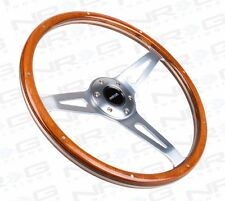NRG ALUMINUM 365mm STEERING WHEEL CLASSIC WOOD GRAIN & 3-SPOKE CHROME RIVETS