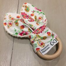 Wood And Cotton Crinkle Sound Bunny Ears Teething Ring, Fuchsia Pink Paisley