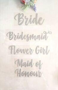 wedding iron on heat tshirt transfer bride bridesmaid party silver glitter vinyl