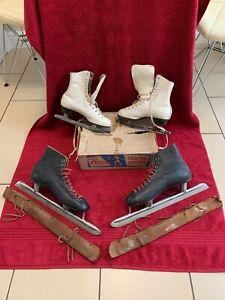 VINTAGE FAGAN ICE SKATES AND BAUER FIGURE ICE SKATES IN ORIGINAL BOX