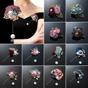 Charm Pearl Crystal Brooch Flower Lapel Pin Banquet Barrette Clip Women Wedding