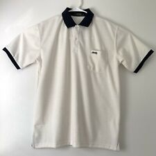 Jeep Brand Mens Large Polo Ivory with Navy Blue Collar Trim and Embroidery EUC
