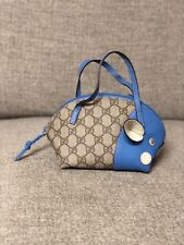 Authentic GUCCI supreme GG Zoo Animal Pig Blue Leather Hand Bag Purse