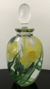 Steven Lundberg Studio Art Glass Daffodil Flower Paperweight Perfume Bottle