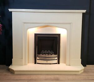 """54"""" Cream Marble Fireplace With Lights"""