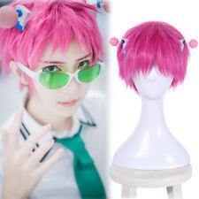 "Saiki Kusuo no Ψ-nan Pink Cosplay Wig 7.8"" Short Straight Hair Wig with Headwear"