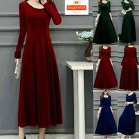 UK Womens Long Sleeve Dress Winter Ladies Gold velvet Cocktail Long Maxi Dresses