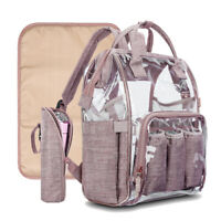 Clear Diaper Backpack Handbag Waterproof Changing Pad Nappy Bag Large Travel