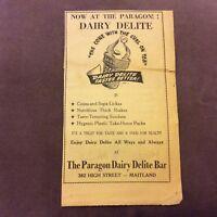 Paragon Dairy Delite Bar - Maitland - Australia - 1958 Advertisement