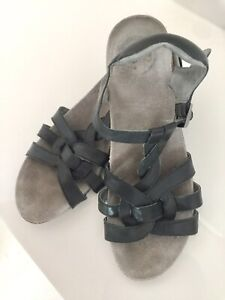 Abeo Womens Size 10 Paisley Black Leather Sandals