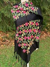 India Rebozo Pashmina Wrap Shawl Embroidered Floral Geometric 5.5x2.2 Black S66