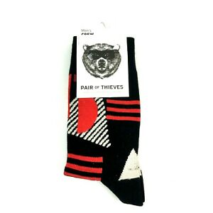 Pair Of Thieves Mens Crew Socks 8-12 Geometric Black Red 1 Pair