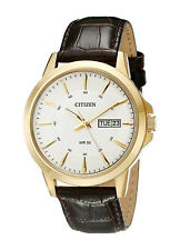 Citizen Reloj Hombre Oro Steel Cuero Gold Man Watch Leather Band Hand Crystal