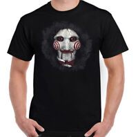 Saw T-Shirt, Mens Jigsaw Mask Halloween Horror Movie Unisex Top Scary