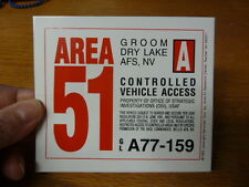 #A-2  AREA 51 VEHICLE PASS Decal Car STICKER -Is it Real? Area 51 security truck