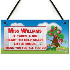 Personalised Great Teacher Big Heart Hanging Plaque Thank You End Of Year Gift