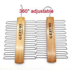 2 pcs Wooden necktie hanger Stainless steel Belt Rack cabinet organizer 20rings