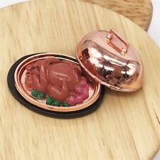 1:12 Scale Dollhouse Miniature Iron Plate Turkey Cooking Toy Decoration Pretend