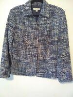Coldwater Creek Women's Size 12 Blue White Tweed Coat Blazer Jacket Button down