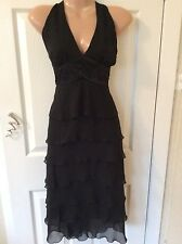 NEW WITH TAGS BLACK HALTERNECK TIERED DRESS sIze 8 Hols 5th To 15th June