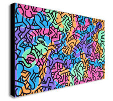 Keith Haring - Untitled People - Canvas Wall Art Framed Print - Various Sizes